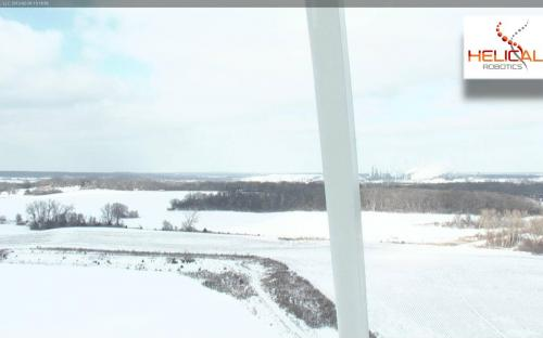 HD Video Photo of Liberty 2.5MW Wind Turbine Blade Surface while HR-MP20 is On Station.